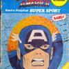 Captain America Super Sport! Basically, a black-line only colouring book. Bug-chewed, but .. I LOVE IT!